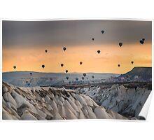 Flying hot air ballons over Cappadocia Poster