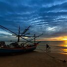Fisherman Work in First Light by arthit somsakul
