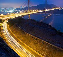 Ting Kau Bridge at night along the highway in Hong Kong by kawing921