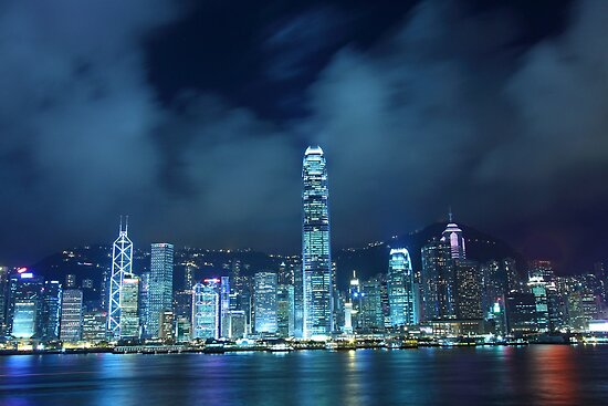 Hong Kong skyline in cyber toned at night by kawing921
