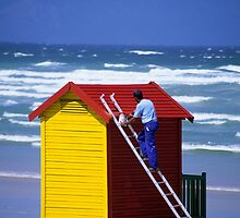 Beach Hut Painter - Cape Town by Martin Cameron