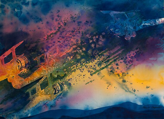 Watercolour: Triplane Jealousies by Marion Chapman