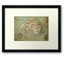 Peter Pan Neverland Map Framed Print