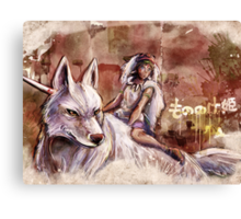 Mononoke and the Wolf Digital Painting Canvas Print