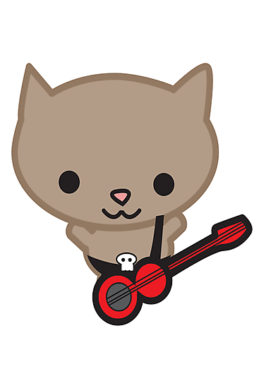 Kawaii Bassist Cat by ValeriesGallery