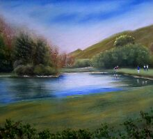 "lake beside silent vally Northern Ireland.   20""x16"" by marie stewart"