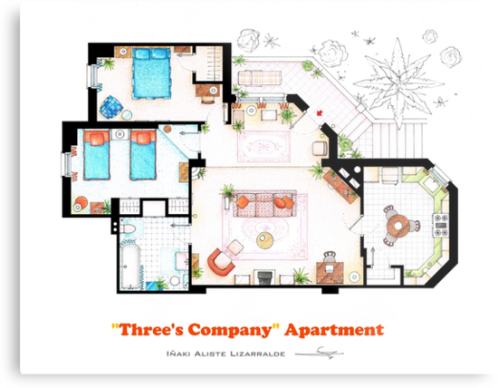 Three's Company Apartment Floorplan by Iñaki Aliste Lizarralde