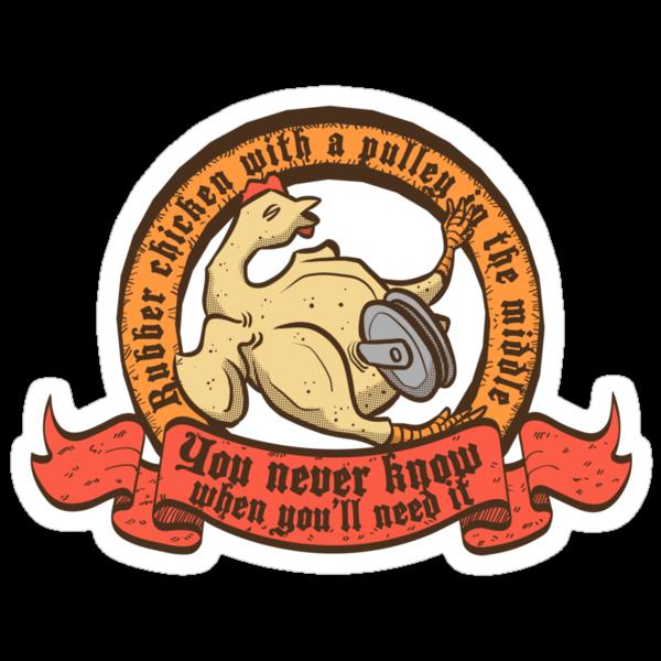 Il super sticker del Pollo di gomma con una carrucola in mezzo!©