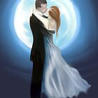 painting of love couple in moon light  by basukshitiz