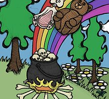 Teddy Bear And Bunny - End Of The Rainbow by Brett Gilbert