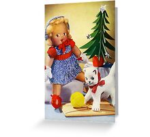 Knitted out for Christmas - Vintage Retro Card Greeting Card