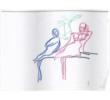 Women on a bench Poster