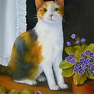Daisy the Calico Cat with Flowers by Vivian Eagleson