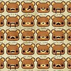 Bear with many moustaches by hellohappy
