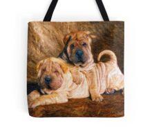 Sharpei Dogs in Impasto Tote Bag