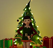 Cute Christmas Elf - Greeting Card by Liam Liberty