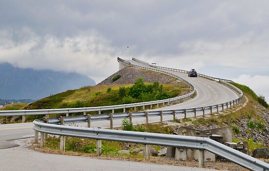 The Highest Bridge on the Atlantic Ocean Road, Norway Seen from Approach to It by Gerda Grice