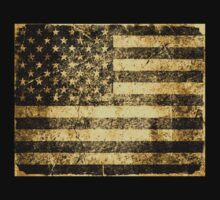 Old American Flag Grunge Cracked Wall by Nhan Ngo