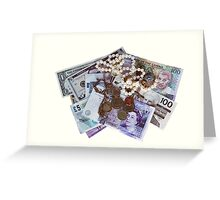 Currency and Jewellery isolated on white Greeting Card