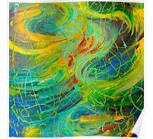 NAUTICAL GALAXY - Beautiful Aquatic Blue Green Ocean Universe Abstract Painting Gift Decor Poster