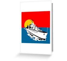 World War Two Battleship Warship Cruiser Retro Greeting Card