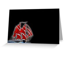 Clipper Ship Indian Queen on black Greeting Card