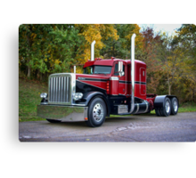 """""""Miss Behavin"""" 1990 Peterbilt Semi Truck Canvas Print"""