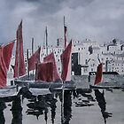 Whitby Harbour in oils by andy davis