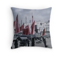 Whitby Harbour in oils Throw Pillow