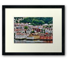 Buildings on Stilts, Bergen, Norway Framed Print