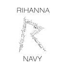 Rihanna Navy 'R' Design White Case by TalkThatTalk