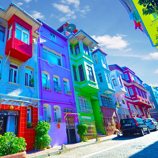 Old Colorful Houses Istanbul By Kyrenian Redbubble