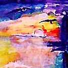 Abstract sunset at sea, watercolor by Anna  Lewis