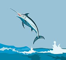 Blue Marlin Fish Jumping Retro by patrimonio