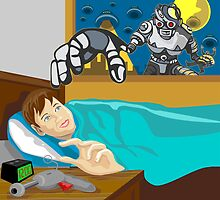 Alien Robot Snatching Kid by patrimonio