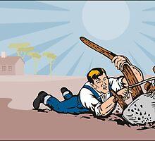 Farmer Dragged Plow Plowing Farm Retro by patrimonio