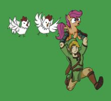 Link's Harassing the Scootaloos Again by tyko2000