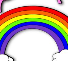 Pink Fluffy Unicorns Dancing On Rainbows Sticker