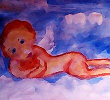 Mom and Dads Angel, watercolor by Anna  Lewis