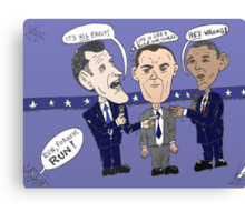Editorial cartoon of Romney, Gump and Obama Canvas Print