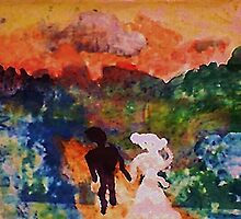 Walking hand in hand into the sunset, FAUVE, watercolor by Anna  Lewis