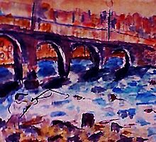 Londons many bridges #3,FAUVE, watercolor by Anna  Lewis