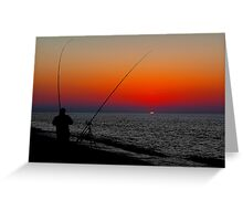 ANGLERS SILHOUETTED ON CLEY BEACH Greeting Card