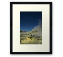 Steaming sulfur vents. White Island volcano. NZ Framed Print