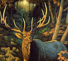 Autumn Majesty - Elk Oil Painting by csforest