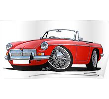 MG B Roadster Red Poster