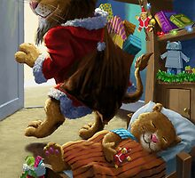 Father Christmas lion delivering presents by martyee
