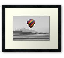 Colorful Hot Air Balloon and Longs Peak Framed Print