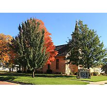 Peaceful Small Town Church, Surrounded by Fall Colors Photographic Print
