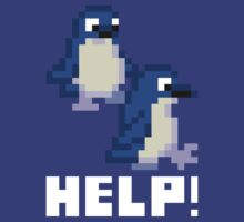 Help! Save the Penguins Cute Pixel Art Shirt (Dark) by Dan & Emma Monceaux